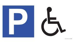 Panneau de parking en aluminium P + symbole - Handicapé