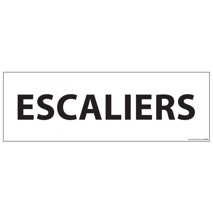Signalisation d'information - ESCALIERS - - 210 x 75 mm BLANC