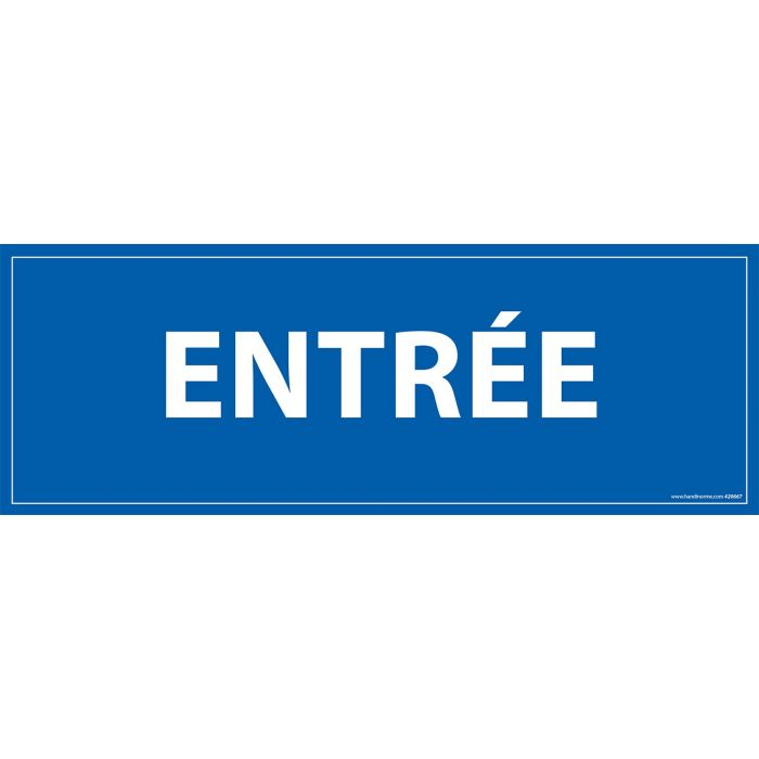 Signalisation information - ENTREE - fond bleu 210 x 75 mm