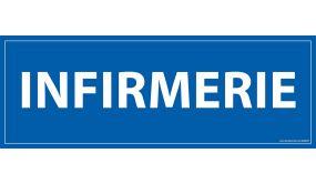 Signalisation information - INFIRMERIE - fond bleu 210 x 75 mm