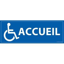 """Signalétique information """"Accueil"""" + Picto Handicapé fond bleu PVC"""