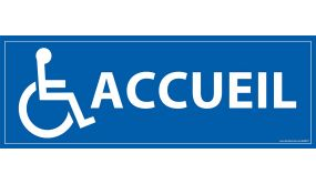 Signalétique information Accueil + Picto Handicapé fond bleu PVC