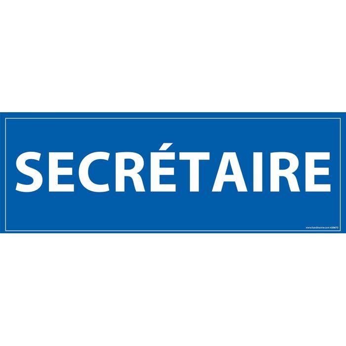 Signalisation information - SECRETAIRE - fond bleu 210 x 75 mm