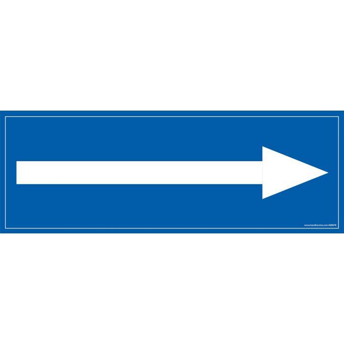 Signalisation information - flèche vers la droite - fond bleu 210 x 75 mm