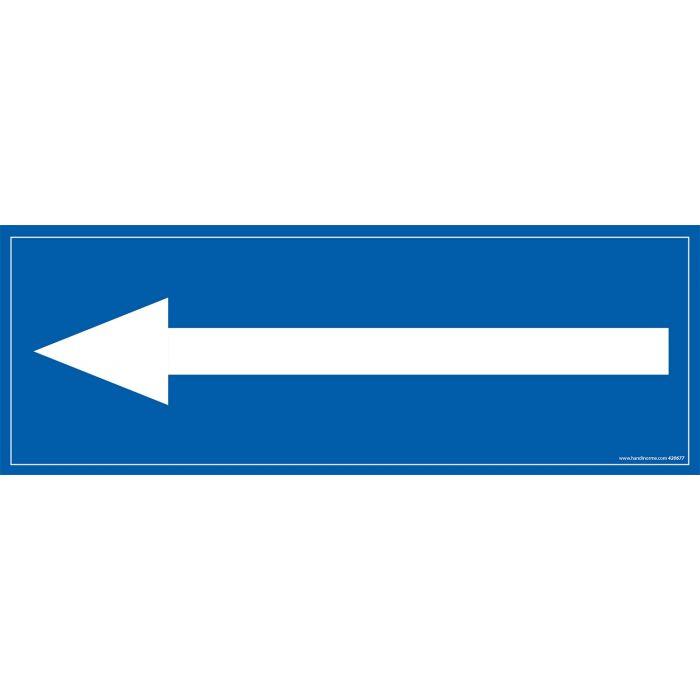signalisation d'information rectangle avec symbole flèche vers la gauche blanche sur fond bleu
