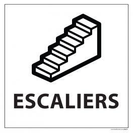 """Signalétique information """"ESCALIERS"""" fond blanc, vinyle 250 x 250 mm"""