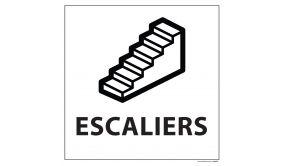 Signalisation information - ESCALIERS - fond blanc, vinyle 250 x 250 mm