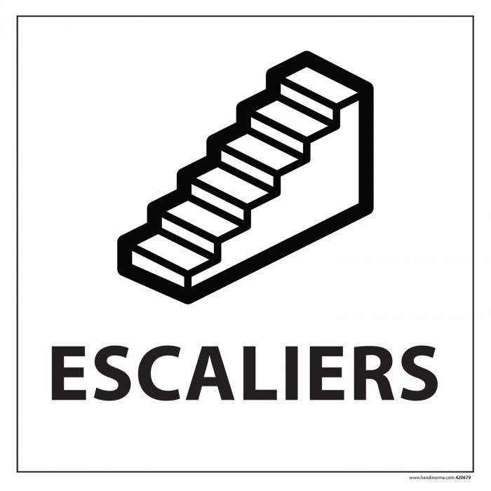 """signalisation d'information symbole escaliers noirs sur fond blanc avec texte """"escaliers"""""""