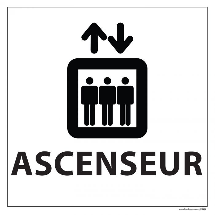 Signalisation information - ASCENSEUR - fond blanc 250 x 250 mm