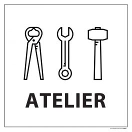 Signalisation information - ATELIERS - fond blanc 250 x 250 mm