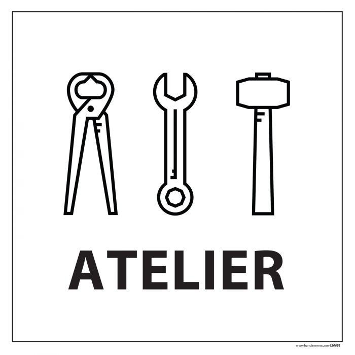 Signalisation information - ATELIERS - fond blanc 250 x 250 mm