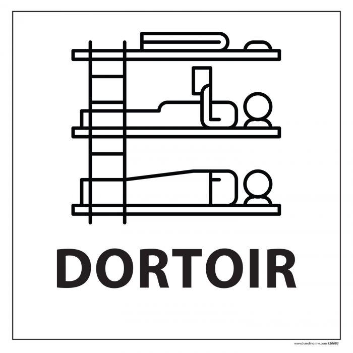 Signalisation information - DORTOIR - fond blanc 250 x 250 mm