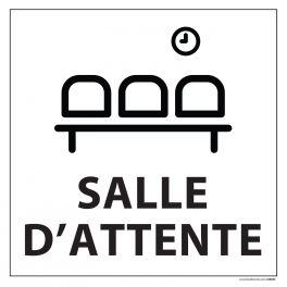 Signalisation information - SALLE D'ATTENTE - fond blanc 250 x 250 mm