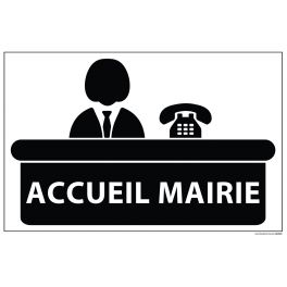 Signalétique information ACCUEIL MAIRIE+ symbole fond blanc 300 x 200 mm
