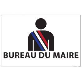 Signalisation information - BUREAU DU MAIRE+ symbole - fond blanc 300 x 200 mm