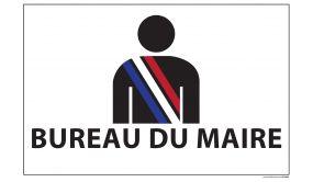 Signalisation information - BUREAU DU MAIRE+ picto maire - fond blanc 300 x 200 mm