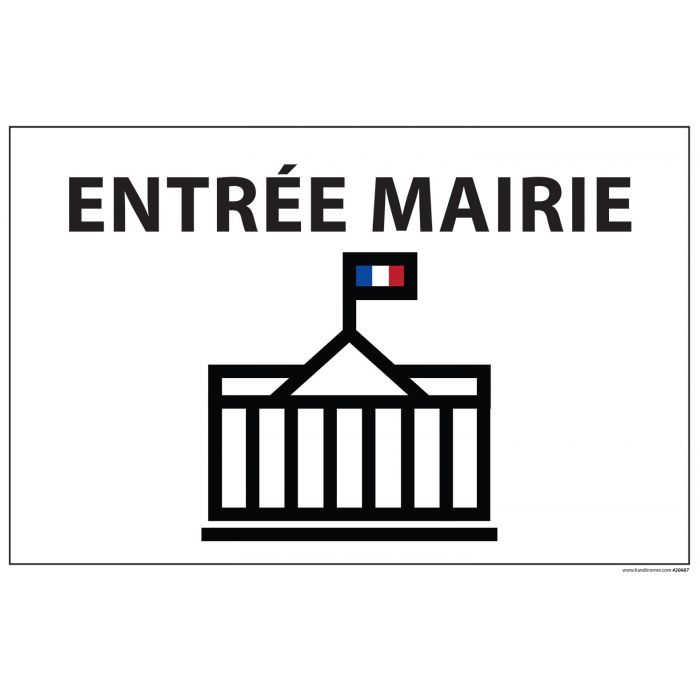 Signalisation information - ENTREE MAIRIE+ symbole - fond blanc 300 x 200 mm