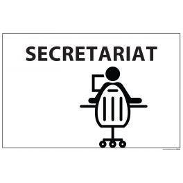 "Signalétique information ""SECRETARIAT + symbole"" fond blanc 300 x 200 mm"