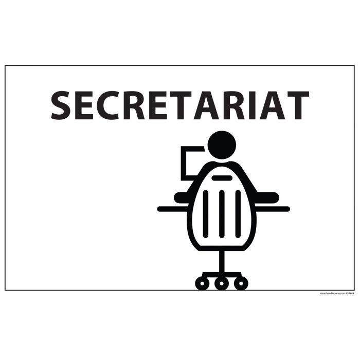 Signalisation information - SECRETARIAT + symbole - fond blanc 300 x 200 mm