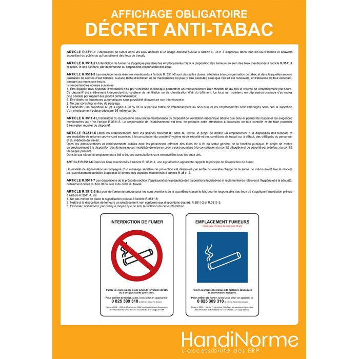 Poster affichage - Décret anti-tabac