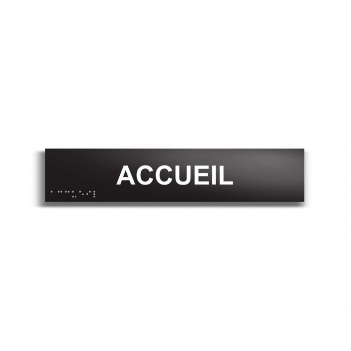 """""""Accueil"""" Plaque de porte en braille et relief noir"""