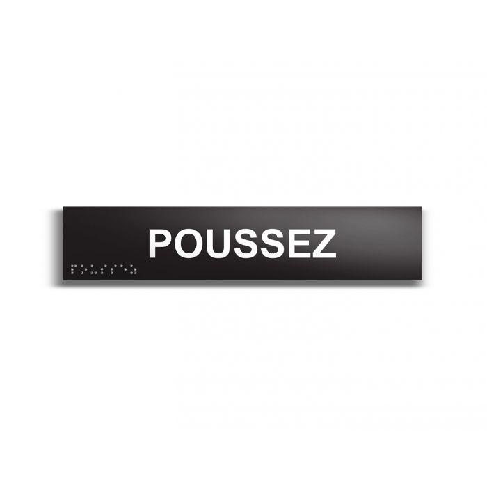 Poussez - Plaque de porte en braille et relief - 25 x 5cm