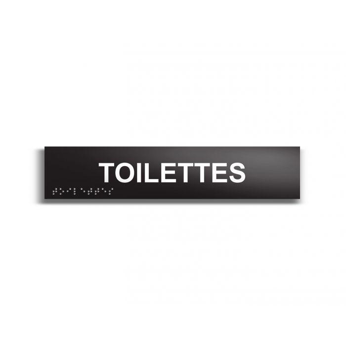 """""""Toilettes"""" Plaque de porte en braille et relief noir"""