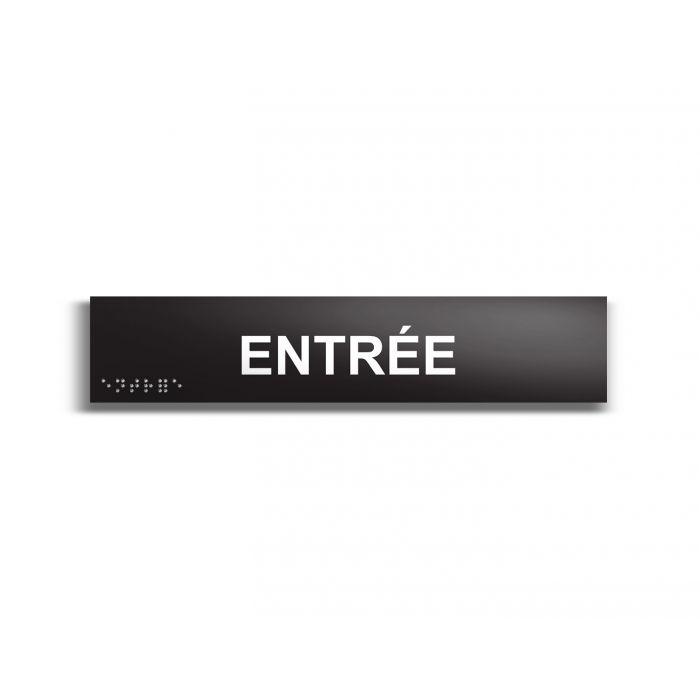 Entrée - Plaque de porte en braille et relief - 25 x 5cm NOIR