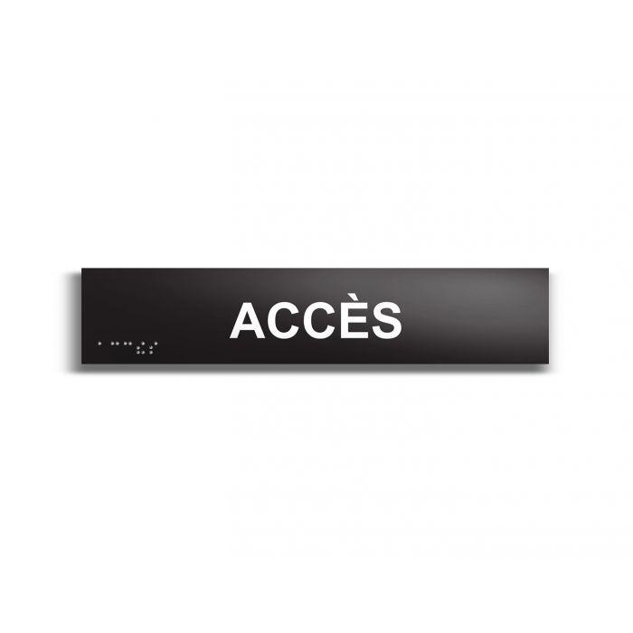 Accès - Plaque de porte en braille et relief - 25 x 5cm NOIR