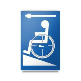 Plaque en relief et en braille - Symbole Handicapé flèche gauche