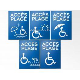 """Panneau """"Accès Plage""""+picto Handicapé - 5 visuels au choix"""