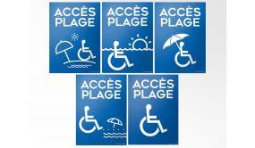 Panneau Accès Plage+picto Handicapé - 5 visuels au choix