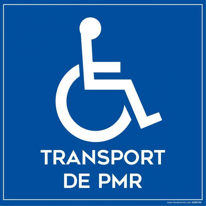 """Signalétique adhésif sur la face pour véhicule """"Transport de PMR et Picto"""""""