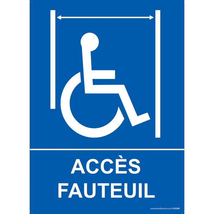 """Panneau ascenseur """"Accès fauteuil"""" + picto Handicapé"""