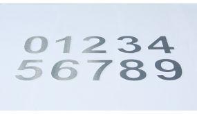 Chiffre relief en aluminium brossé chiffre - 0 - à - 9