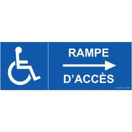 Panneau pmr signal tique rampe acc s fl che gauche for Rampe d acces handicape