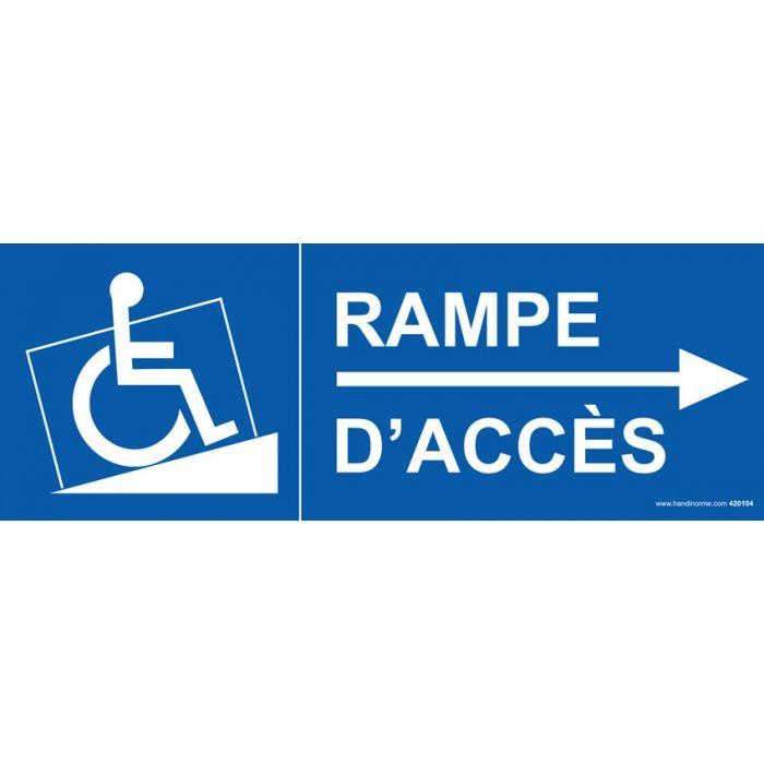 Panneau signalisation rampe acc s fl che droite for Rampe d acces handicape