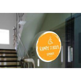 Adhésif design pour sonnette d'appel rampe d'accès - jaune