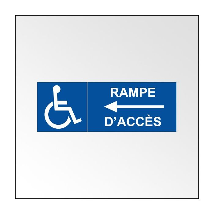 Signalisation adh sive rampe acc s fl che gauche for Rampe d acces handicape