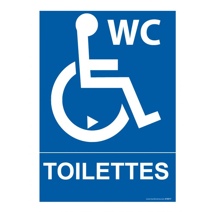 panneau signal tique indiquant des toilettes pmr avec nouveau pictogramme. Black Bedroom Furniture Sets. Home Design Ideas