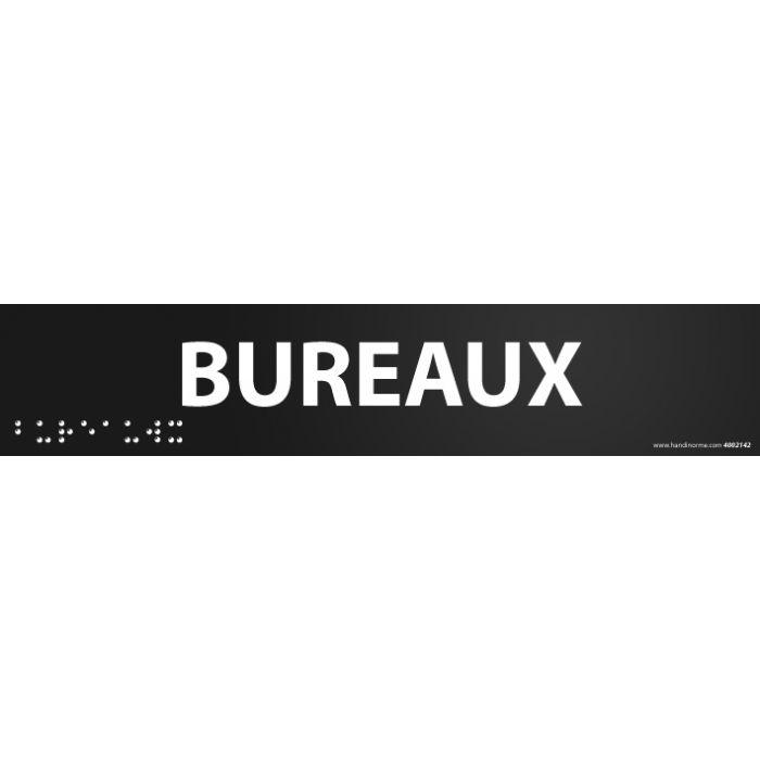"""""""Bureaux"""" Plaque de porte en braille et relief"""