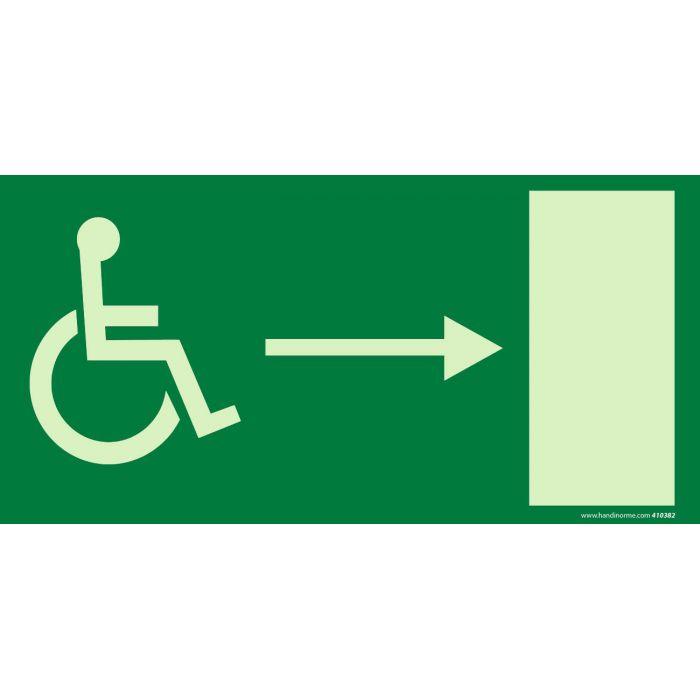 """Signalétique """" Sortie de secours"""" droite + picto Handicapé Photo-luminescent"""