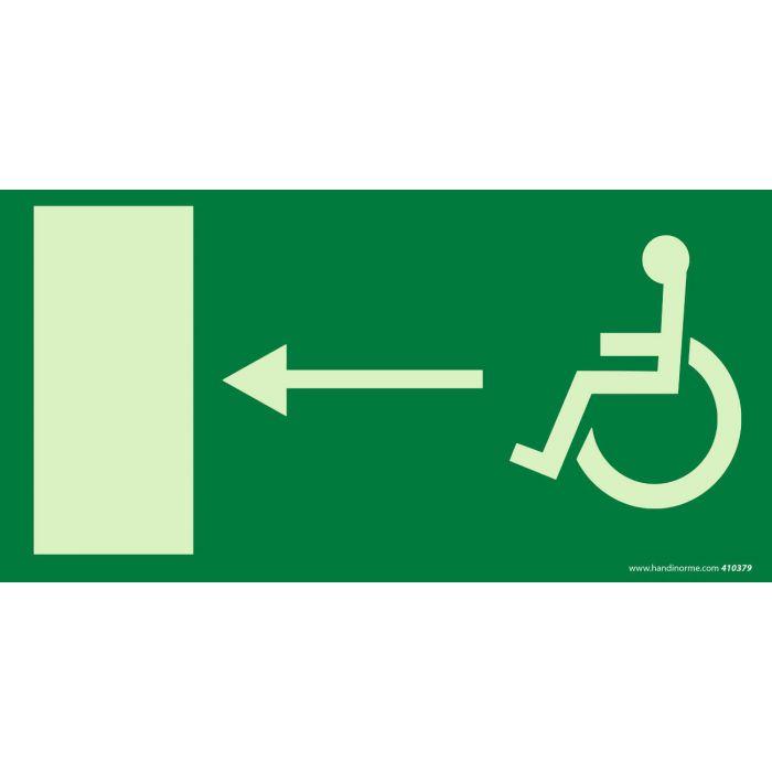 Signalétique Accès sortie de secours gauche Photo-luminescent + picto Handicapé