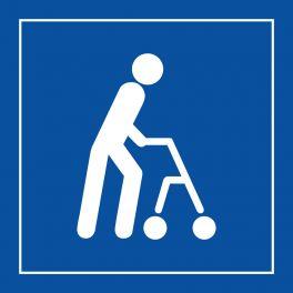 """Pictogramme PI PF 045 """"Accessibilité, capacité de déplacement à pied limitée"""" en Vinyle Souple Autocollant ISO 7001"""