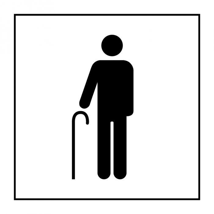 """Pictogramme PI PF 055 """"Accès prioritaire aux personnes âgées"""" en Vinyle Souple Autocollant ISO 7001"""