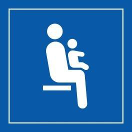 """Pictogramme PI TF 025 """"Siège prioritaire pour personnes avec enfant en bas âge"""" en Vinyle souple autocollant ISO 7001"""