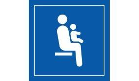 Picto PI TF 025 - Siège prioritaire pour personnes avec enfant en bas âge - en Vinyle Souple Autocollant ISO 7001
