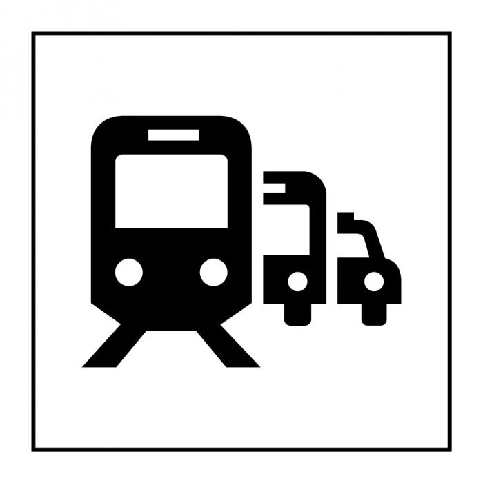 "Pictogramme PI TF 028 ""Pôle de correspondance ou gare routière""en Vinyle ISO 7001"