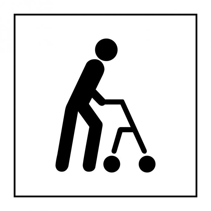 """Pictogramme PI PF 045 """"Accessibilité, capacité de déplacement à pied limitée"""" en Gravoply ISO 7001"""