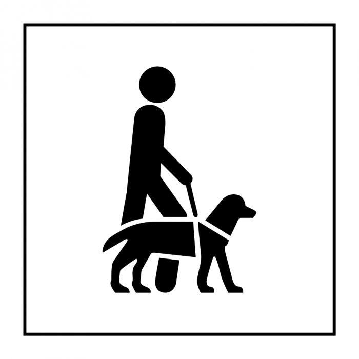 """Pictogramme PI PF 046 """"Accessibilité, chien de guide ou d'assistance"""" en Gravoply ISO 7001"""